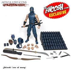 Articulated Icons: The Feudal Series - Ninja Action Figures - BackerKit Ninja Action Figures, Japanese Mask, Gi Joe Cobra, Gears Of War, Marvel Legends, Cool Toys, Overlays, Poster, Childhood