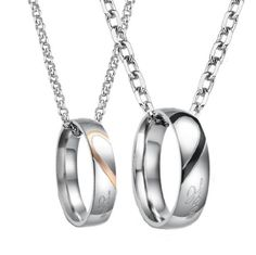 """Stainless Steel 18k Rose Gold Plated """"Real Love"""" Engraved Pendant Necklace Set for Couple, Men, Women N106 