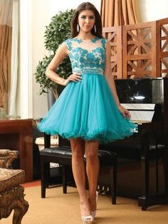 Scoop Neck with Beading and Applique Lace Tulle Elegant Blue Short Prom Dress Formal Dresses Under 100, Formal Dress Shops, Dresses For Teens, Short Dresses, Vintage Homecoming Dresses, Elegant Cocktail Dress, Elegant Gown, Tulle Prom Dress, Tulle Lace