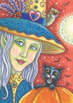 WITCH AND GRUMPY BLACK CAT - More of my Original #Halloween Folk Portrait Art Illustration Susan Brack ACEO EBSQ #EHAG Ebay