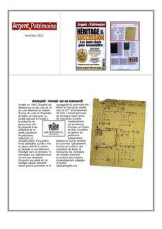 Aristophil:Investir sur un manuscrit  Retrouvez cet article dans le numéro d'avril/juin 2013 du magazine Argent  http://aristophilblog.com/