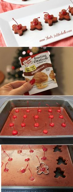 Adorable Gingerbread Man Jell-O shots::Use Gingerbread Frosting Flavoring to make these. So clever - and the cherry stems make them easy to pick up and pop in your mouth!  It can be difficult and expensive trying to get perfect gingerbread flavor by mixing liqueurs. This one only requires gingerbread flavoring/sweetened condensed milk/water/gelatin and vodka.