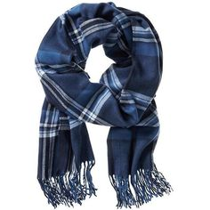 Banana Republic Plaid Woven Scarf Size One Size - Navy ($60) ❤ liked on Polyvore featuring accessories, scarves, navy scarves, woven scarves, banana republic, woven shawl and braided scarves