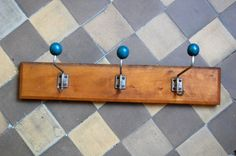 Coat rack Vintage 3 ball wooden coat hook Retro by TallinnVintage
