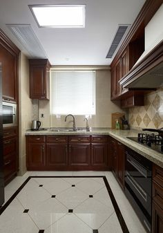 American big house kitchen cabinets and ceiling