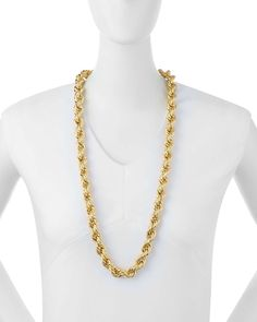 Skinny French Twist Chain Necklace, Gold-Plate