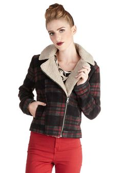 Kickoff the Season Jacket by Jack by BB Dakota - 3, Red, Black, Plaid, Exposed zipper, Casual, Rustic, Long Sleeve, Good, Collared, Short, G...