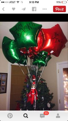 Welcome back balloons 200 Easy Elf on the Shelf Ideas - Raining Hot Coupons Merry Christmas, Winter Christmas, All Things Christmas, Christmas Holidays, Christmas Decorations, Xmas Elf, Magical Christmas, Handmade Christmas, Happy Holidays