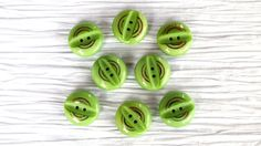 "Set of 8 Apple Green 18mm 2-hole Glass Buttons with Gold Detail ~ Rare Antique CZECH GLASS BUTTONS ~ 23/32"" ~ Set of 8 Vintage Buttons"