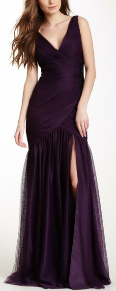 Monique Lhuillier Sequin Embellished Ruched Gown - bring up the bodice and sew the slit in the skirt