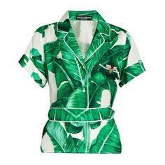 Dolce & Gabbana Banana leaf-print silk-twill shirt (4.440 RON) ❤ liked on Polyvore featuring tops, dolce gabbana top, honey bee shirt, dolce gabbana shirt, embellished shirt and green shirt
