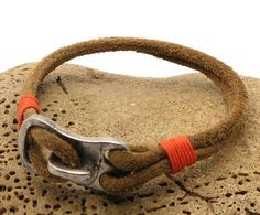 FREE SHIPPING Men's leather bracelet.Handmade natural leather men's bracelet with silver plated clasp.