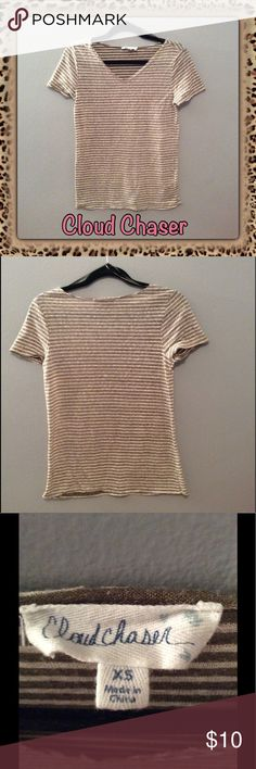 EUC Cloud Chaser V-Neck Striped Tee Excellent used condition - no marks, rips, piling, etc. Hemline is slightly frayed but it came that way. Slightly sheer. No trades. Lowest price unless bundled. Comes from smoke & pet free home. Don't hesitate to ask any questions! Cloud Chaser Tops Tees - Short Sleeve