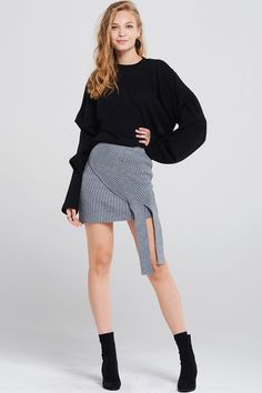 Karly Ribbed Knitted Tie Skirt Discover the latest fashion trends online at storets.com