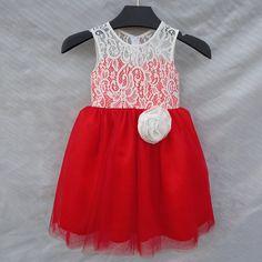 Top Red Satin White Tulle Skirt flower girl dress Sleeveless flower girl dress,girl's birthday dress
