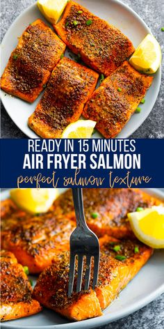 Air fryer salmon cooks quickly and has a slight crust on the outside, but is tender on the inside. With a delicious rub, this salmon recipe can be on your table in 15 minutes! #sweetpeasandsaffron #airfryer #salmon #readyin15 #healthydinner #mealprep Best Fish Recipes, Best Lunch Recipes, Clean Recipes, Easy Dinner Recipes, Healthy Recipes, Amazing Recipes, Healthy Eats, Seafood Dishes, Seafood Recipes