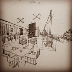 Pool Lounge (Final) #freehand #sketch #drawing #perspective #drafting #handdraw #interior #design #designhotels #hotel #hoteldesign #pool #lounge #openair #seaview #rattan #screen #sea #sky #cloud #thailand #tama #vajrabukka #taste #3arch #arch_sketch #architecturesketch