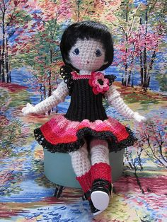Dropped waist crochet dress for crochet Bleuette. The bodice is the camisole bodice, lengthened. I don't usually crochet in black, it is such a bugger to see the stitches. But this little girl really wanted a dress in black :-) Pattern freely available soon on my blog at: www.byhookbyhand.blogspot.com