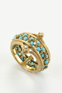 NEW ANTHONY NAK 18K Yellow Gold Diamond Turquoise Accent Band Ring Sz 7