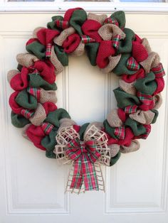 Christmas Burlap Wreath on Etsy, $40.00