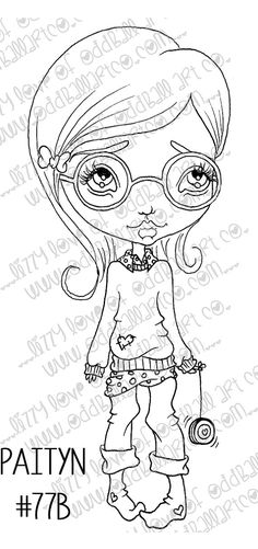 Digi Stamp Digital Instant Download Cute Big Eye Girl with Glasses Paityn Image No. 77 & 77B by Lizzy Love