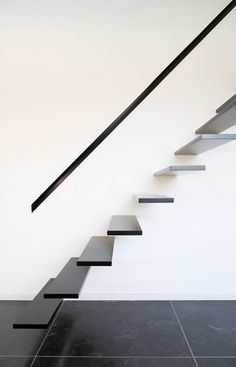 floating staircase minimaliste --- but I would want the stairs & the handrail to be transparent or frosted acrylic!