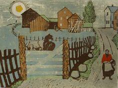 Henrik Finne (1898-1992): Henrik Finnes tresnitt Day, Landscapes, Painting, Pictures, Paisajes, Scenery, Painting Art, Paintings, Painted Canvas