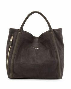 Harriett Leather Hobo Bag, Dark Gray - See by Chloe