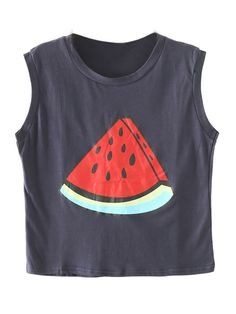 Dark Blue Watermelon Print Sleeveless Loose Vest