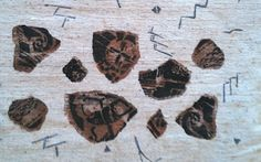 My Pottery Shard Stencil on Handwoven cotton Diane Ericson Design