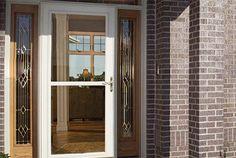 Therma tru 8 39 0 fiber classic oak collection fiberglass doors with chord privacy glass fiber for Reeb fiberglass exterior doors