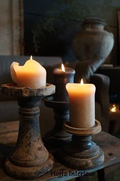 candles / beautiful light / home decor ideas Candle Lanterns, Pillar Candles, Rustic Candles, Primitive Lighting, Primitive Candles, Candle In The Wind, Light In, Wood Turning, Candlesticks
