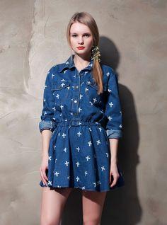 [Storets] Cross Print Denim Dress
