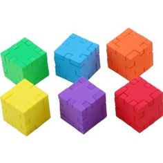 Happy Cubes: Colorful cube puzzles. Every color is a different cube. You can combine all six of them! Also, there are easier sets (Little Genius) and harder ones available (Marble Cube, Profi Cube)