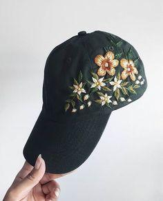 Stitch everywhere!!! Pic by @embroideredart 🌸🌼#dmcthreads Hat Embroidery, Cross Stitch Embroidery, Embroidery Patterns, Bone Bordado, Diy Broderie, Embroidered Clothes, Diy Clothing, Diy Fashion, Crochet