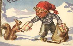 Julekort Harald Damsleth Gutt i skogen. Gutt gir julegave til ekorn Vintage Christmas, Christmas Cards, Christmas Postcards, Christmas Ideas, Scandinavian Christmas, The Elf, Vintage Postcards, Elves, Gnomes