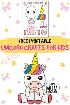 Enter the magical world of the Unicorn with your FREE printable Unicorn Craft Diy Crafts For Girls, Animal Crafts For Kids, Fun Diy Crafts, Kid Crafts, Unicorn Games, Unicorn Crafts, Party Activities, Creative Activities, Kindergarten Crafts