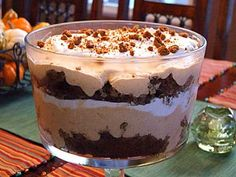 Pumpkin- Gingerbread Trifle:  gingerbread mix, vanilla instant pudding, pumpkin pie filling, brown sugar, ground cinnamon, frozen whipped topping, gingersnap