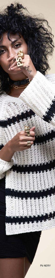 Pam & Gela Spring 2017 RTW Knit Fashion, Sweater Fashion, Runway Fashion, Spring Fashion, Black White Fashion, Black White Red, Pam & Gela, White Patterns, Sweater Weather
