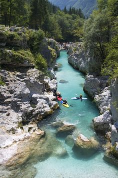 Kayaking on the beautiful Soča River in Slovenia (by Peep O'Daze).