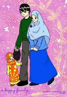 Muslim Family On Butterflies Hearts Background Anime CiftlerEvlilik