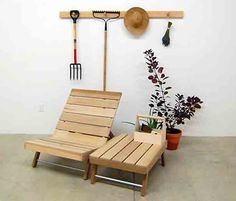 Pallet furniture with class.  Hangs on the pegs when not in use.