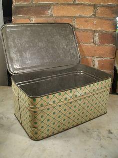 1930's Tin Bread Box Polka Dot Original Paint Cream Green Tinware Storage Container Retro Vintage Kitchen Decor Craft Organizer by TheProfessorsAttic on Etsy https://www.etsy.com/listing/243890166/1930s-tin-bread-box-polka-dot-original