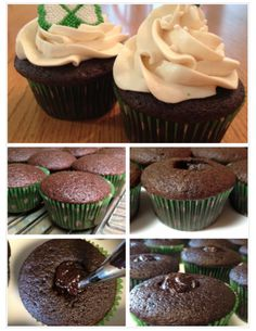 Irish Car Bomb Cupcakes - Perfect for St. Patrick's Day! These stay extremely moist thanks to the Guiness in the cupcakes, but have only subtlest taste of the alcohol in them. Delicious!