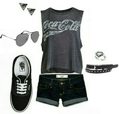Women's fashion casual shorts and van's outfit