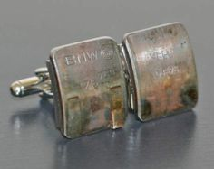 BMW Engine Piston CUFFLINKS - with original stampings of part #s and letters