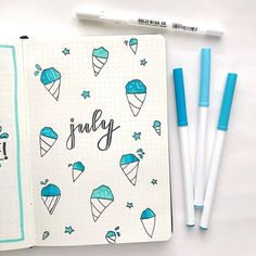 Amazing Hello July Bullet Journal Layouts Amazing Hello July Bullet Journal Layouts - Modern calligraphy for beginners Bullet Journal Headers, Bullet Journal Month, Bullet Journal Notebook, Bullet Journal School, Bullet Journal Themes, Bullet Journal Inspo, Bullet Journal Spread, Bullet Journals, Bullet Journal Layout Templates