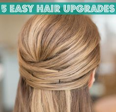 Looking for Easy Hairstyles Half-Up, Half-down? For those casual days when you just don't have time to wash or mess with your hair. These simple hair ideas look great for. Pretty Hairstyles, Easy Hairstyles, Straight Hairstyles, Wedding Hairstyles, Bobby Pin Hairstyles, Hairstyle Ideas, Straight Hair Updo, Bridesmaid Hair Straight, Straight Wedding Hair