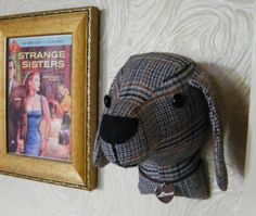 Fabric Trophy head. Dog wall hanging. Fake by TillyLaneTreasures, $22.00