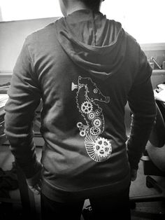 Triblend steampunk Seahorse hoodie! Color is a soft maroon!  www.crabterror.com